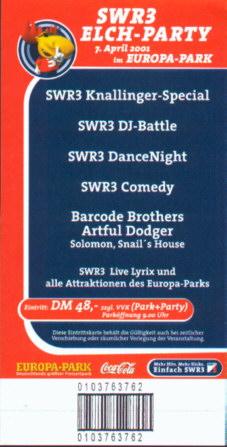 Eintrittskarte zu einer der ersten Elchparties von SWR3.