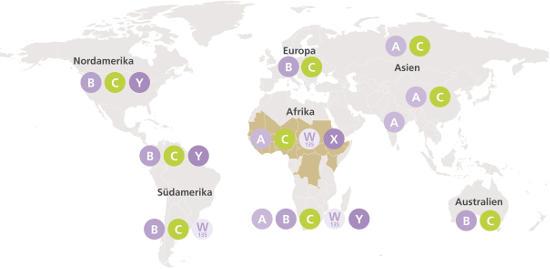 Die Karte zeigt, in welchen Ländern die Gefahr einer Meningokokken-Infektion besonders hoch ist. Foto: djd/Pfizer