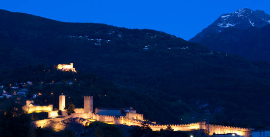 Castelgrande, Castello di Montebello und Castello di Sasso Corbaro. Bild (c) Christof Sonderegger