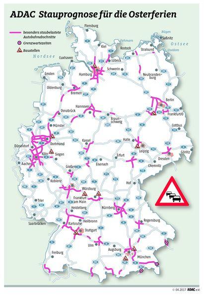 Autobahn Staukarte Ostern 2017 - Quelle: ADAC