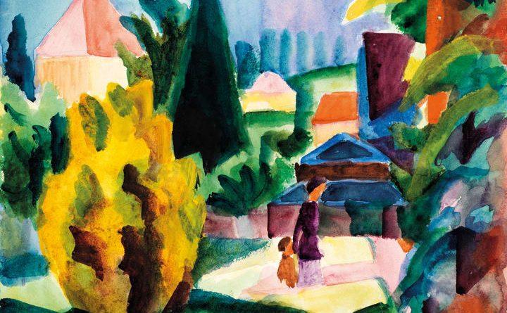August Macke: Im Schlossgarten von Oberhofen (1914). Aquarell auf Papier. Kunstmuseum Bern, Legat Cornelius Gurlitt 2014. ©Kunstmuseum Bern.