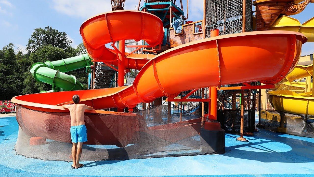 orangene Riesenrutsche :: Captain Splash Wasserspielhaus | Aquapulco Bad Schallerbach