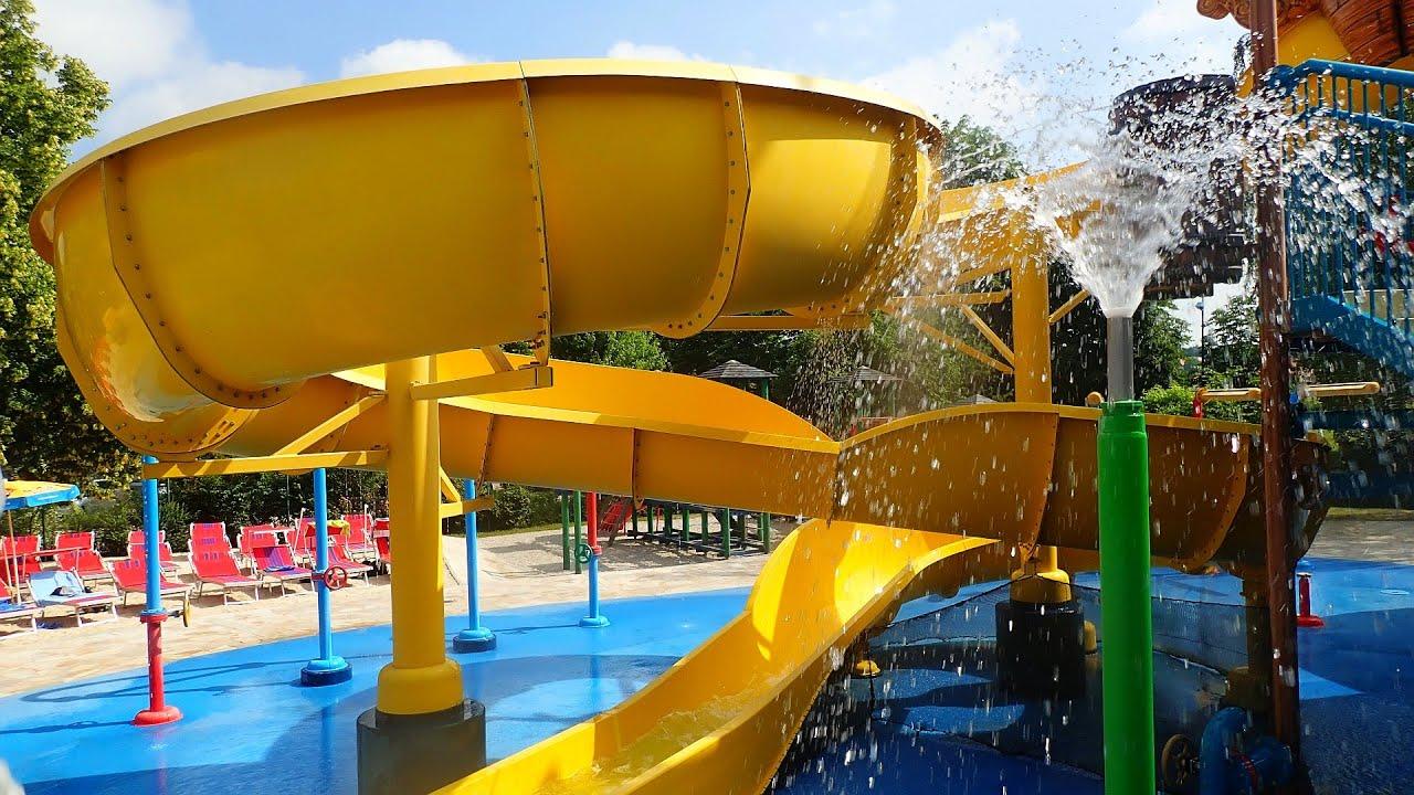 gelbe Riesenrutsche :: Captain Splash Wasserspielhaus | Aquapulco Bad Schallerbach